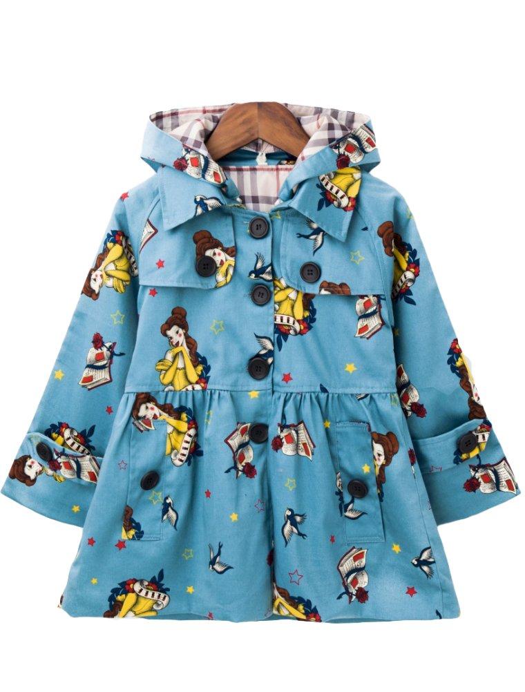 Mallimoda Girl's Hooded Trench Coat Jacket Dress Windbreaker Outwear Blue Flower 3-4 Years