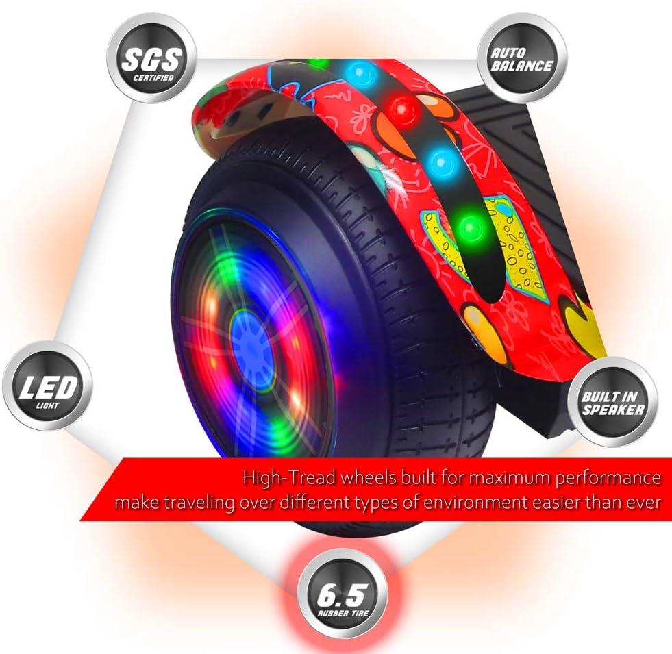 TechClic Electric Hoverboard Self-Balancing 6.5 Inch Wheel Built in Speaker LED Headlight UL Certifie