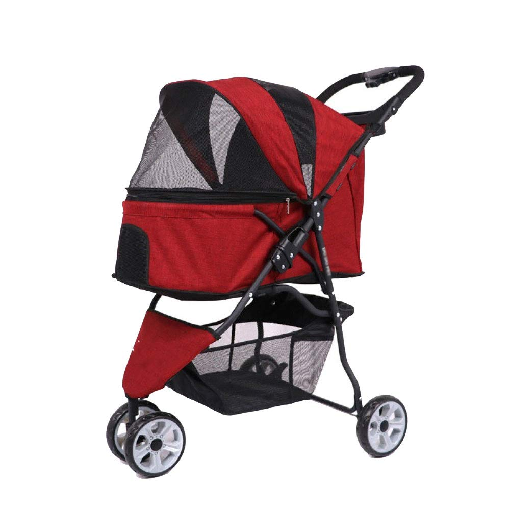 Red Pet Stroller Dog Cart Three-Wheeled Pet Stroller Cat and Dog Out of The Portable Cart Tool-Free Inssizetion (color   Red)