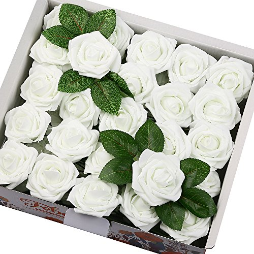 Febou Artificial Flowers, 50pcs Real Touch Artificial Foam Roses Decoration DIY for Wedding Bridesmaid Bridal Bouquets Centerpieces, Party Decoration, Home Display, Office Decor (Standard Type, White)