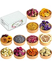 Dried Flowers, 12 Pack Natural Dried Flower Herbs Kit for Bath, Bomb, Soap, Resin, Candle Making, Include Rose Petals, Rosebuds, Lavender, Jasmine Flowers, Lily, Lemon Slice and More