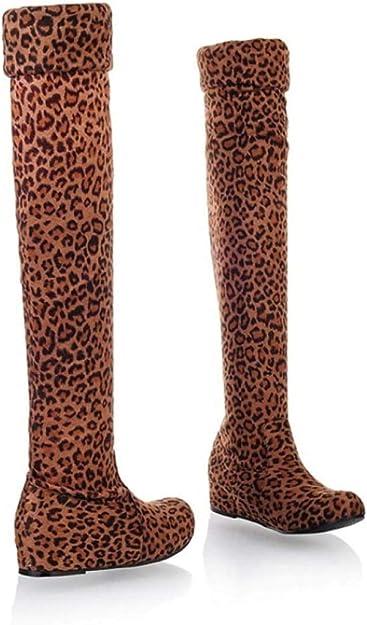 Women/'s Faux Suede Pull On Hidden Wedge Heel Over The Knee High Boots