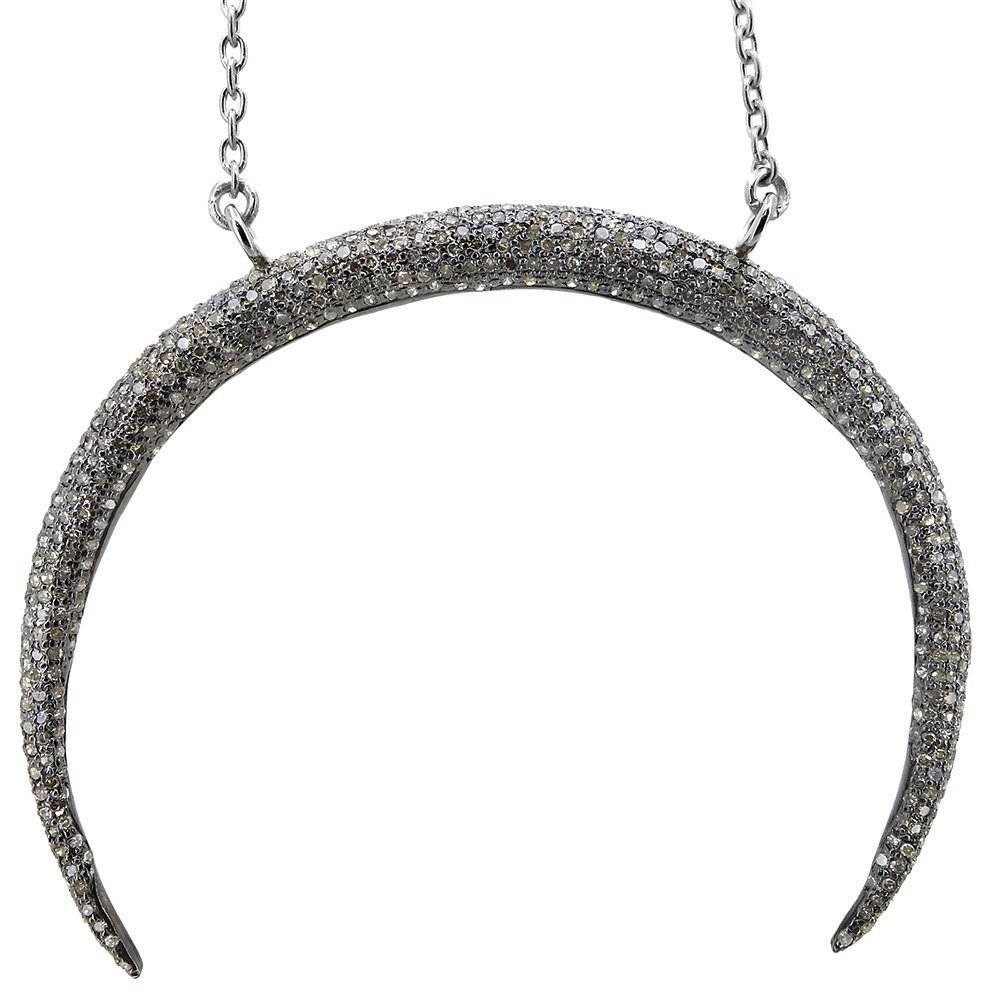 Crescent Moon Pave Diamond Pendant 92.5 sterling silver Chain Necklace Designer Jewelry