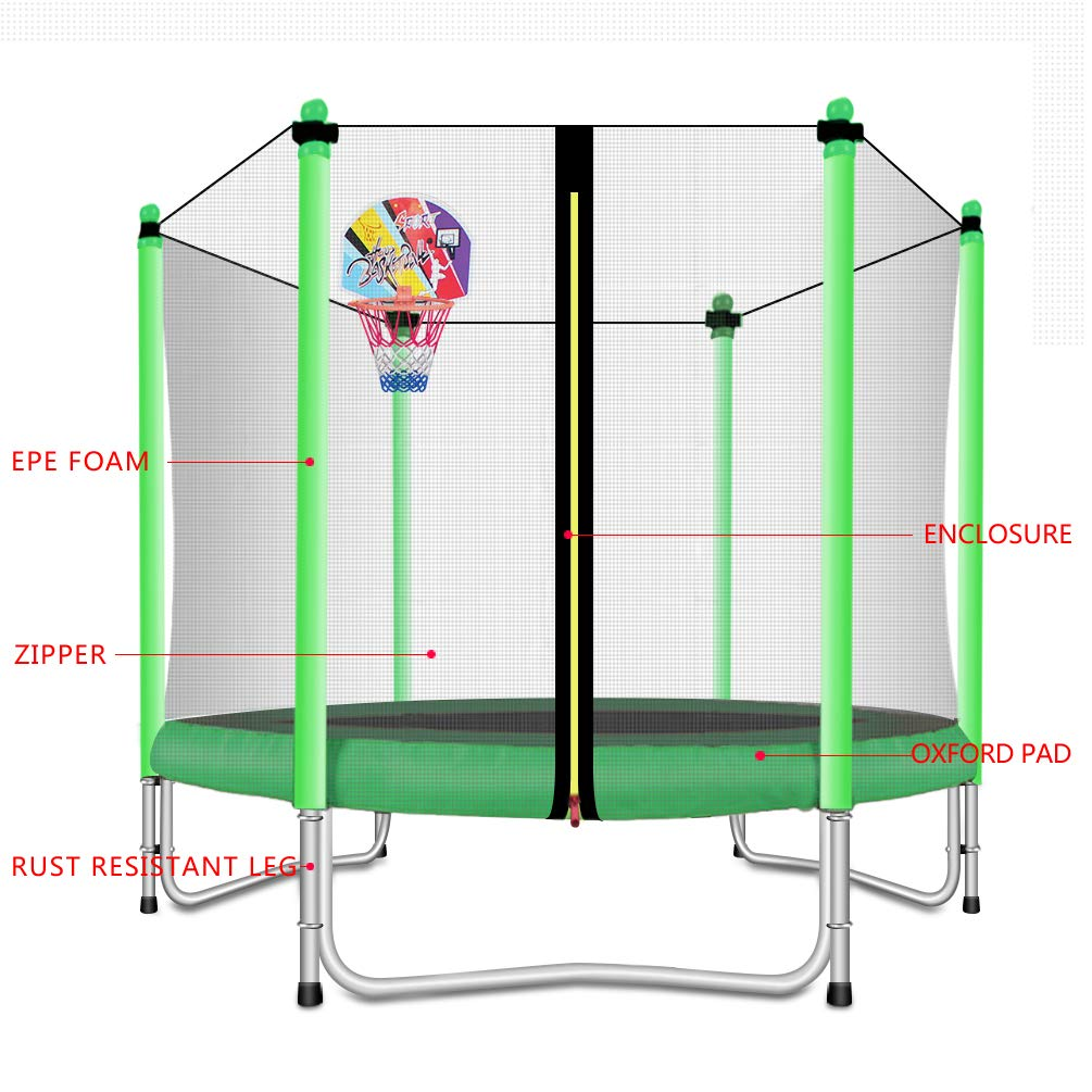 Lovely Snail Trampoline with Basketball Hoop-Trampoline for Kids-Green-5 Feet by Lovely Snail (Image #4)