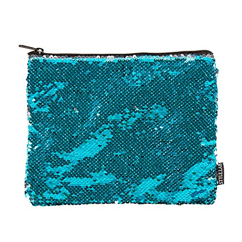 Style.Lab by Fashion Angels Magic Sequin Pouch - Turquoise/Silver