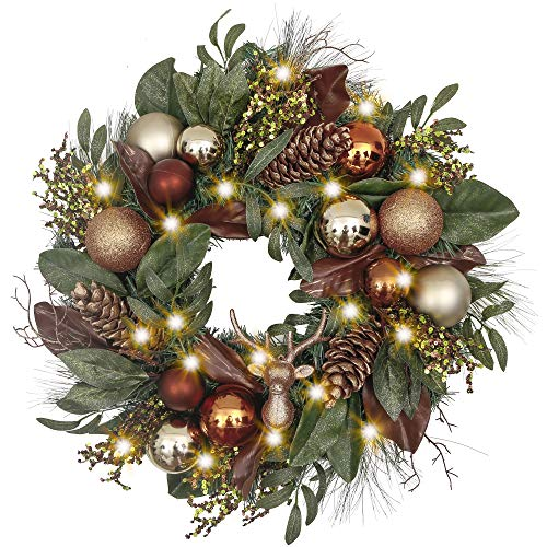 Woodland Christmas Wreath with glittery deer and pine cone, artificial eucalypti leaves, multicolored twigs