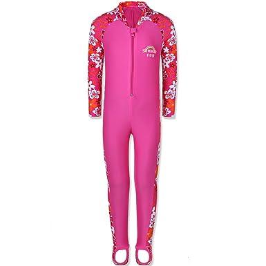 67fffa4dd27d5 TFJH E 1PCS Girls Long Sleeve Swimsuit UPF 50+ Rashguard 1-2Years HotPink  Long