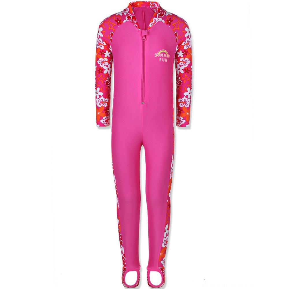 TFJH E 1PCS Girls Long Sleeve Swimsuit UPF 50+ Rashguard 8-10Years HotPink Long by TFJH E