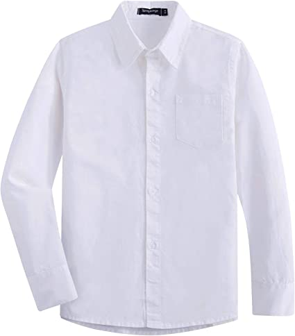 Spring&Gege Camisa de vestir de sarga de algodón de manga larga para niño Blanco blanco 5-6 Años: Amazon.es: Ropa y accesorios
