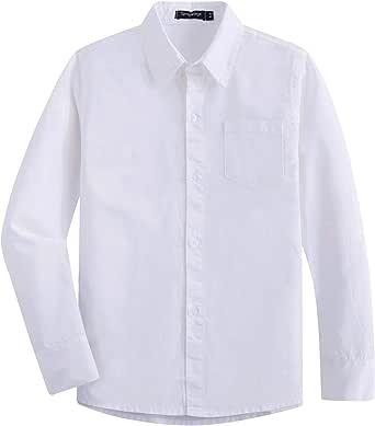 Spring&Gege Camisa de vestir de sarga de algodón de manga larga ...