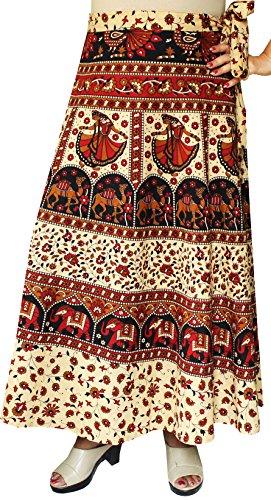 Indian Skirt Women's Cotton Printed Long Wrap Around Skirt (Maroon)