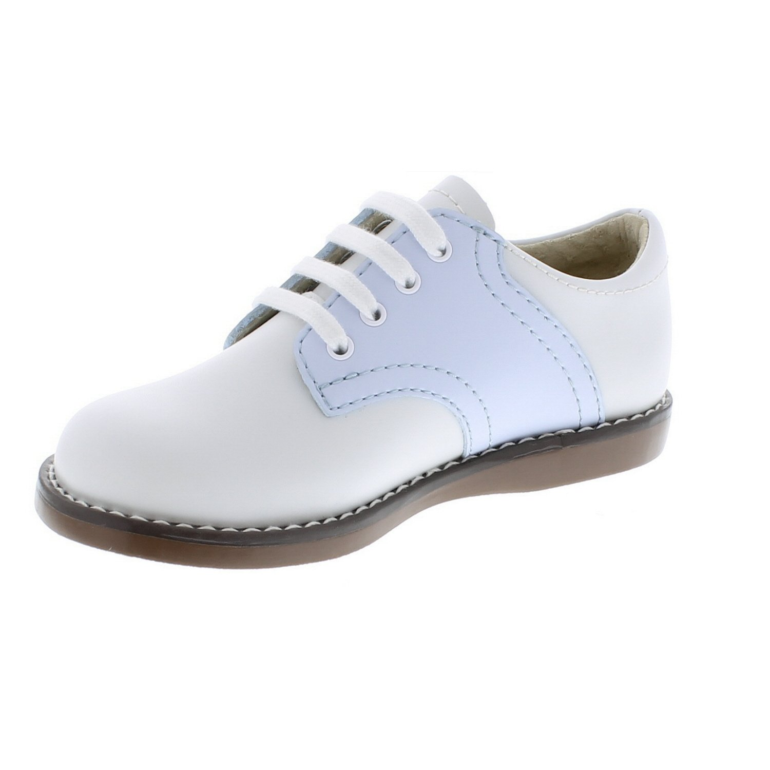 de86aaef6bdb2 Footmates Cheer Laceup Saddle (Infant/Toddler/Little Kid) White/Lt Blue