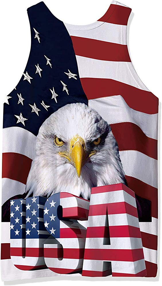 Goodstoworld Men/'s 4 July Gym Bodybuilding Stringer Tank Top USA Flag Eagle