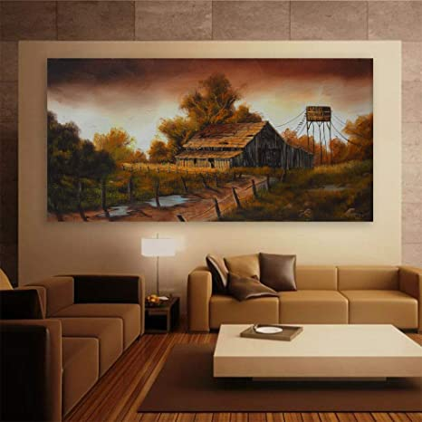Inephos Framed Canvas Painting A Tangerine Evening Landscape