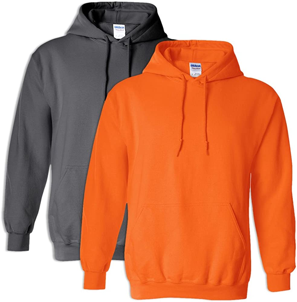 Gildan G18500 Heavy Blend Hooded Sweatshirt S 1 Charcoal 1 Safety Orange