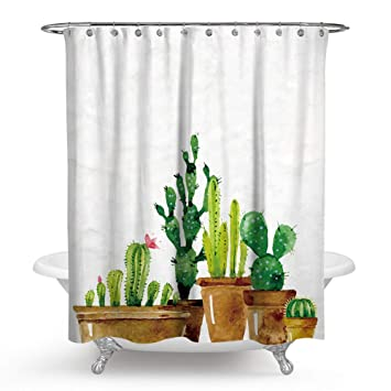Chengsan Cactus Shower Curtains Flowers Blossom Bath Curtain Durable Waterproof Fabric Bathroom