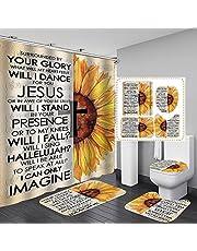 "Fashion_Man 16PCS/Set Butterfly Flower Shower Curtain Fabric Polyester Waterproof Bath Curtain Non-Slip Bathroom Rugs Bath Mat Set Toilet Lid Cover Elegant Bathroom Decor + 12 Hooks, 72""x72"""