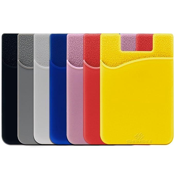 SHANSHUI 2 Pack Tarjetero Adhesivo Porta Tarjetas, (Pegamento) para Todo Tipo de Móviles con Cinta Adhesiva de 3M,Bolsillo y Soporte para Auriculares con ...