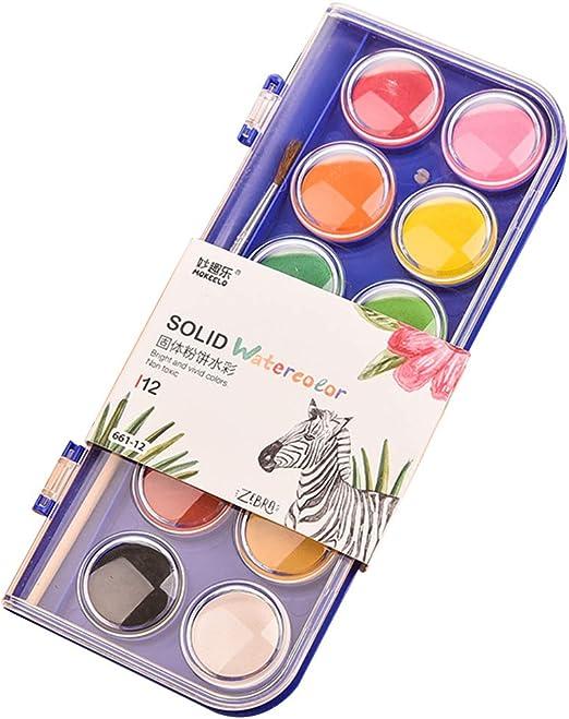 SUPVOX Acuarelas niños estuche con 12 acuarelas juego básico para pintura de acuarelas: Amazon.es: Hogar