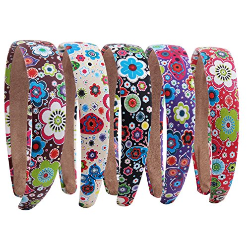 Candygirl 2.5cm Flower Butterfly Headband Girls Headbands Women Hairbands (5pcs Assorted Colors Per Pack)