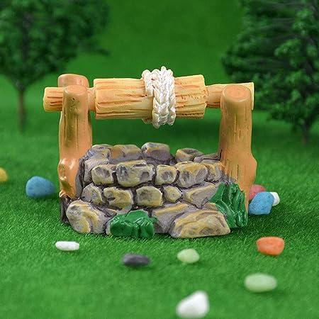 Bricolaje Miniatura Mini Resina del Pozo De Agua del Paisaje Estatuas del Ornamento De La Vendimia Casa Cascada Hada del Jardín Decoración del Escritorio Adornos para El Hogar: Amazon.es: Hogar