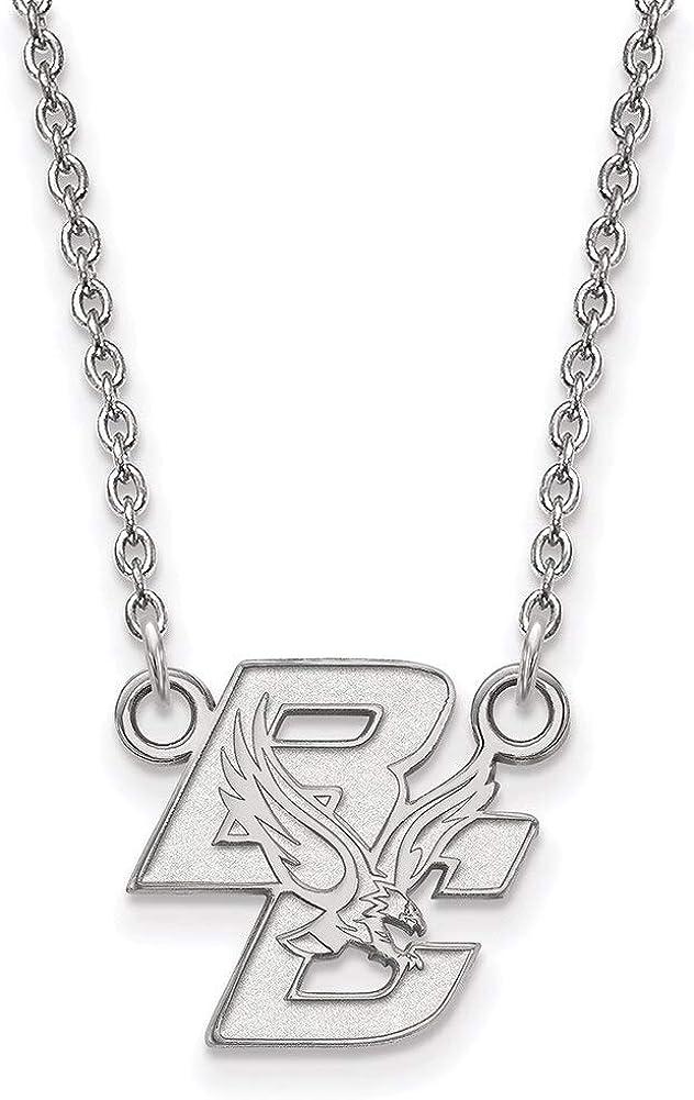 Lex /& Lu LogoArt Sterling Silver Boston College Small Pendant w//Necklace SS013BOC-18