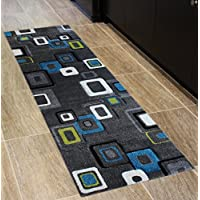 Studio 10 Modern Runner Area Rug Design # ST 607 Charcoal (32 Inch X 7 Feet)