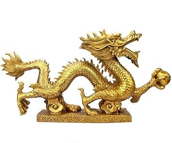 Amazon com: JLDN Feng Shui Brass Dragon Statues, Chinese