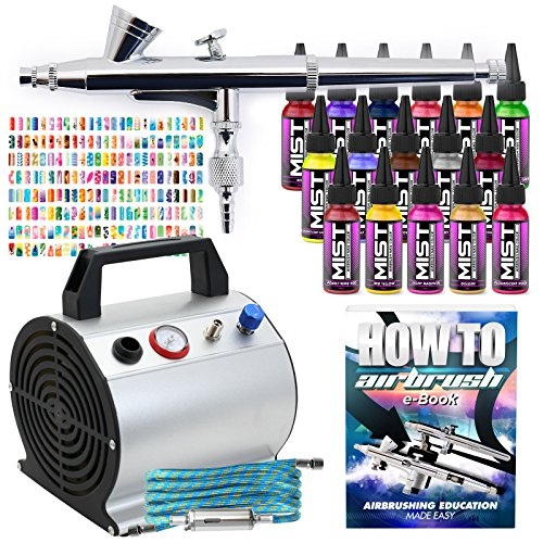 PointZero Complete Airbrush Nail Art Kit - 16 Color 240 S...