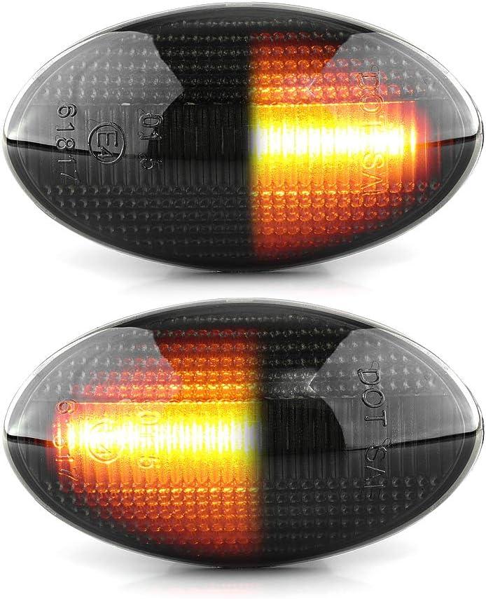 2 x LED Blinkleuchte Blinker DYNAMISCHE Seitenblinker mit E-Pr/üfzeichen Black Vision V-173308LG