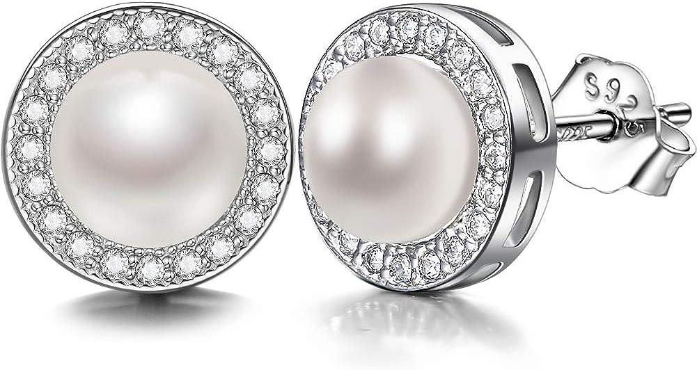 J.SHINE Pendientes Perlas zirconia cúbica 925 Plata de Ley regalo ideal de Mujer Joyería