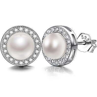 0ef94ff83548 Lydreewam Ohrringe Perlen Damen 925 Sterling Silber Zirkonia mit 3A 6mm  Natürliche Süßwasser Perle Ohrstecker  Amazon.de  Schmuck