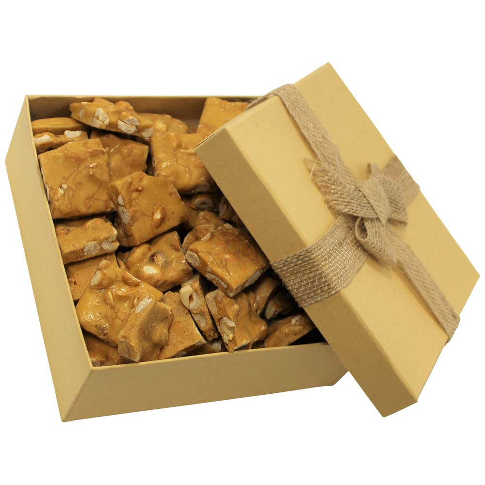 Gourmet Peanut Brittle Gift Box - by It's Delish | Handmade Old-Fashioned Style | Beautiful & Delicious Square Cut Pieces 16 Oz by It's Delish