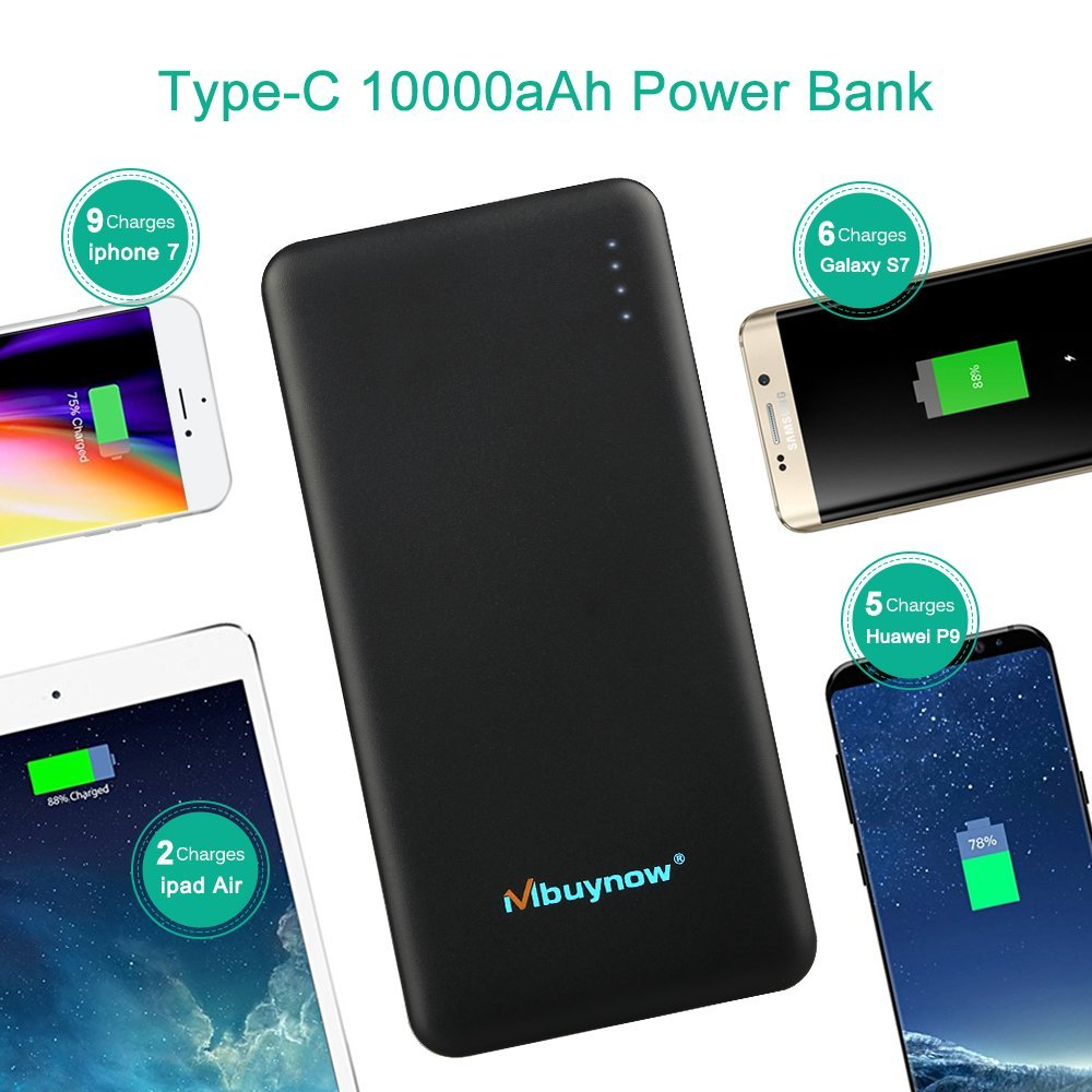 10000 mAh Batería Externa Power Bank QC 3.0 Carga Rápida, Mbuynow (Doble Puerto, Total 5V/3.5A) Cargador portátil, Extra compacto, para iPhone , iPad, Samsung Galaxy,Huawei,Android , Teléfonos móviles, Tablet y Más