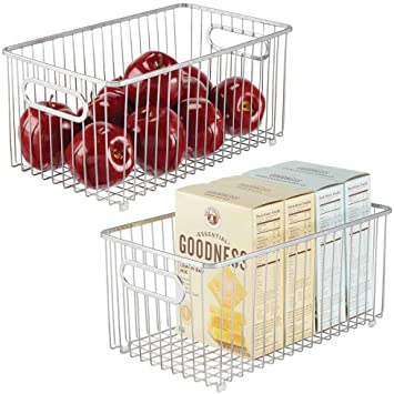 Silver Flexible Storage Basket mDesign All Purpose Basket 40.6 cm x 30.5 cm x 15.2 cm Universally Applicable Wire Basket with Handles