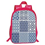 iPrint Pictures Print Design Red Double-Deck Rucksack,Arabian,Arabesque Islamic Motifs Geometric Lines Asian Ethnic Muslim Ottoman Element,Blue White Kids,Comfortable Design.15.7''x 11.8''x 6.3''