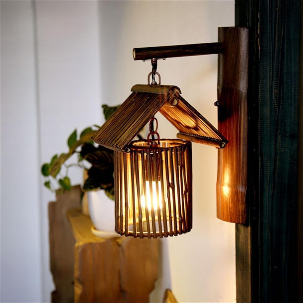 HOME UK-Sud-Est asiatico lampada di bambù Lampada decorazione della parete navata lampada creativa caffè cinese antico casale a mano di bambù muro