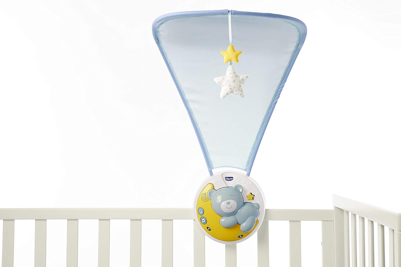 Blau abnehmbares Panel und Karussell beweglich Chicco Next2moon Kinderbett-Projektor mit Licht und Ger/äuschen