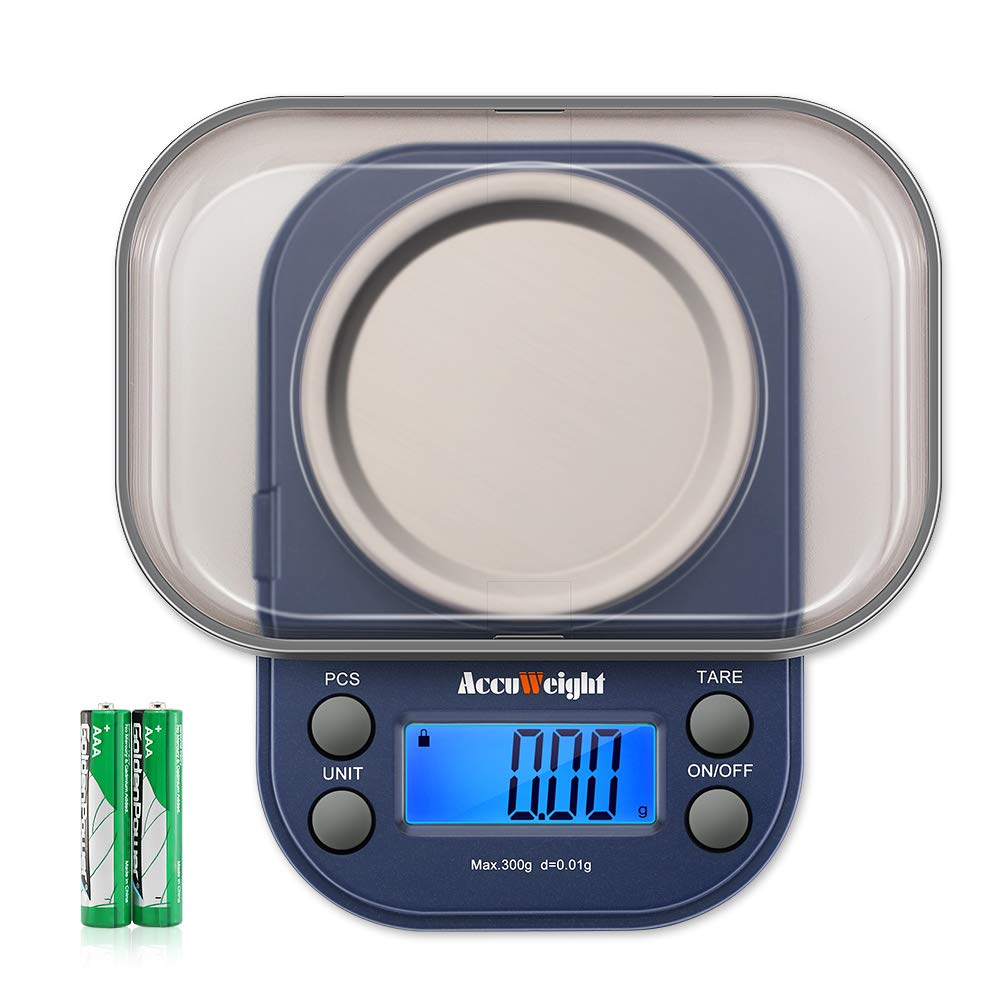AccuWeight 255 Mini Digital Weight Scale for School Travel Jewelry Pocket Gram Scale 300g/0.01g with Tare and Calibration Food Kitchen Scale by AccuWeight