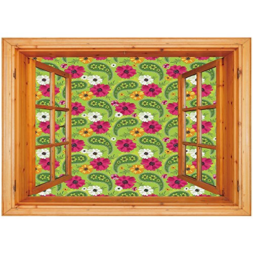 nyl Wall Decal Sticker [ Paisley,Floral Pattern with Vivid Paisley Print Old Vintage Boho Style Print Decorative,Pistachio Pink Orange ] Window Frame Style Home Decor Art Removable ()