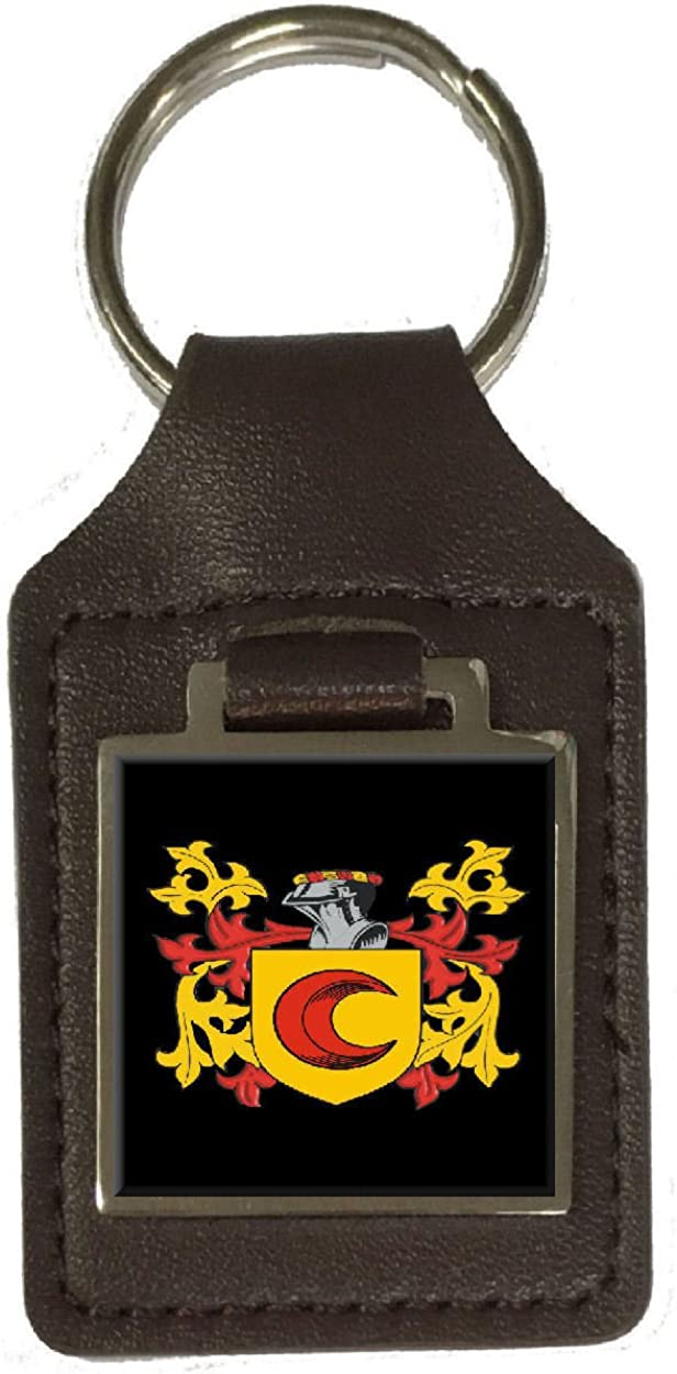 Tweed Family Crest Surname Coat Of Arms Brown Leather Keyring Engraved