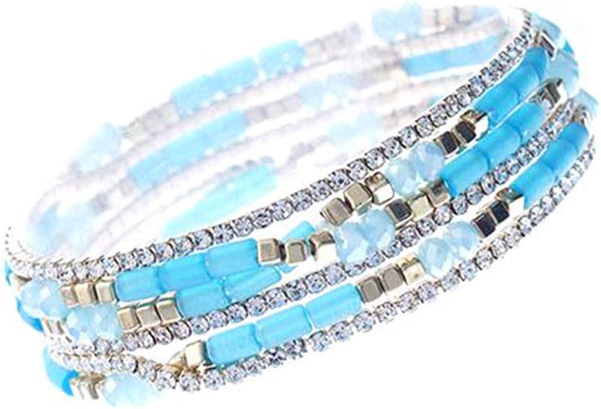 Multi Strand Boho Bracelet Womens Bracelet Bohemian Stackable Bead Silver Bracelet Stacking Bracelet Elegant Boho Bracelet