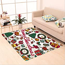 Sophiehome skid Slip rubber back antibacterial  Area Rug christmas greeting card 120949066 Home Decorative