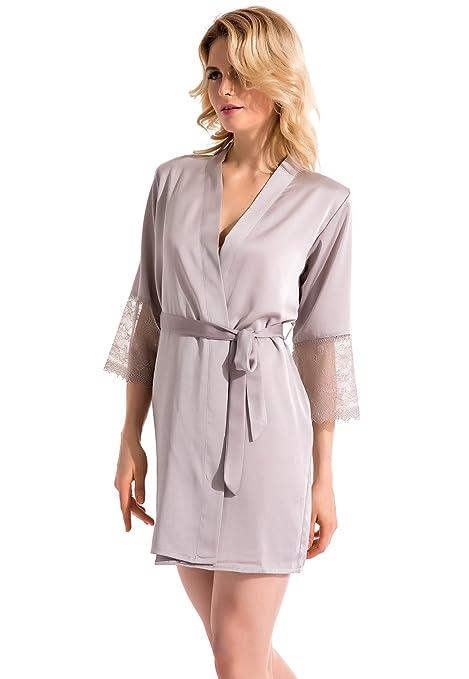 Vislivin Mujer Pijama Kimono Satén Seda de Estilo de Encaje Ropa De Dormir Camisón Gray M