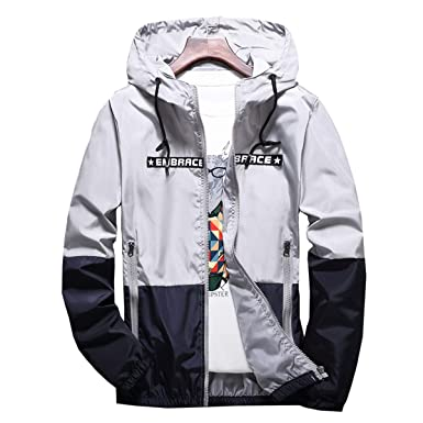 2f82e5986 AITFINEISM Men's Lightweight Hooded Zip up Sports Jacket Windproof  Windbreaker (Small, Grey)