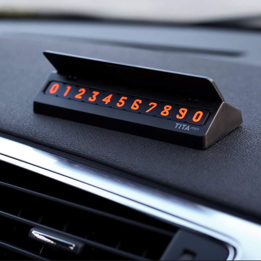 ZHENWOCAI Bcase TITA Flip Type Car Temperary Parking Phone Number Card Plate Mini Car Decoration New (Color : Black)