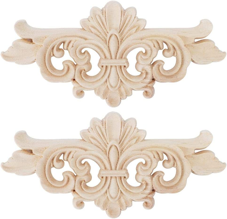 AUNMAS 2Pcs Flower Carved Onlay Applique Furniture Decoration Carving Decal Wooden Floral Carved Corner Home Decorative Accessories Cabinet Door Window Decor Craft(1#)