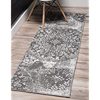 Unique Loom Sofia Collection Traditional Vintage Gray Runner Rug (2 x 10)