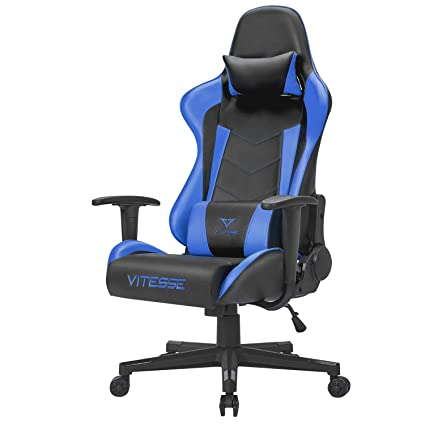 Vitesse Gaming Computer Desk Chair Ergonomic Office Adjustable Height  High-Back Cool PC Chair Swivel with Headrest and Lumbar Support (Blue)