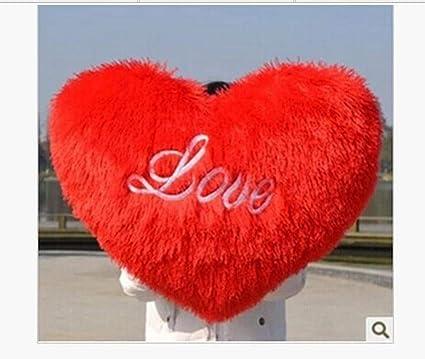 MRWJ sobre 65X55 Cm Amor Forma de corazón Cojín Rojo Corazón ...